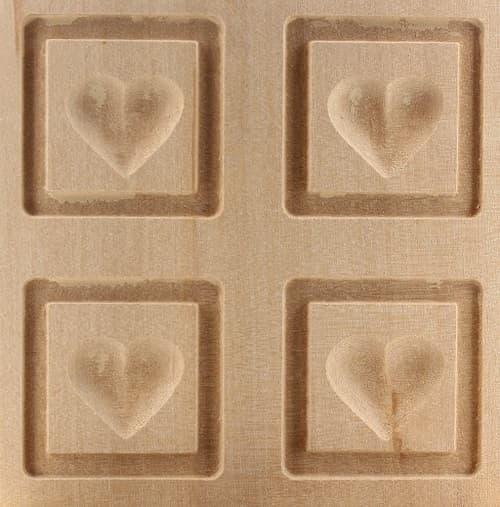 4 er Model Herz schlicht - Springerle Model aus Birnbaumholz