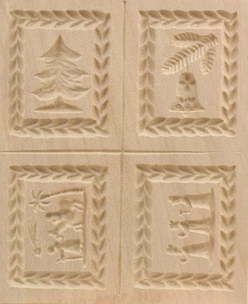 4er Model Weihnacht drei Könige - Springerle Model aus Birnbaumholz